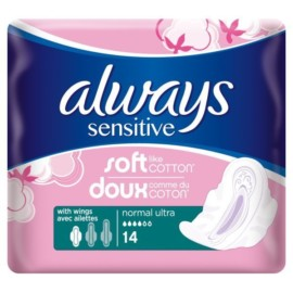 Always Soft & Fit Sensitive Normal Wings Sanitary Pads 14pk