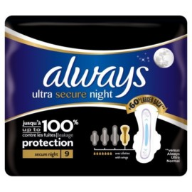Always Ultra Secure Night Sanitary Pads 9pck