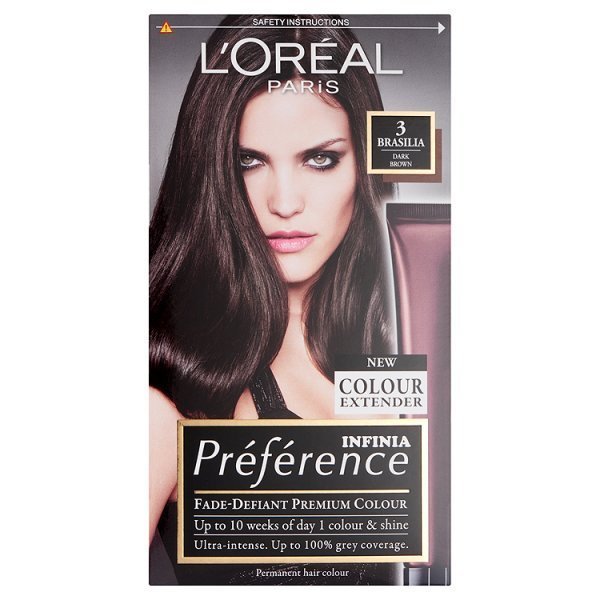 loreal paris preference hair dye 3 brasilia dark brown
