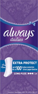 Always Dailies Extra Protect Long Plus Panty Liners 24 Pk
