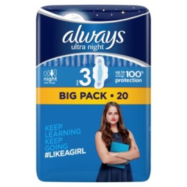 Always Ultra Night S/Twels With Wings 20 Pack