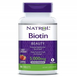 Natrol Biotin Fast Dissolve tablets, Strawberry flavor, 5000mcg, 90 count