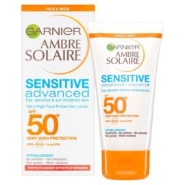 Garnier Ambre Solaire SPF 50+ Sensitive Face & Neck Sun Cream 50ml