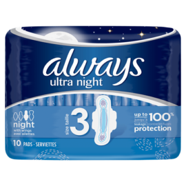 Always Ultra Night Sanitary Pads 10pck