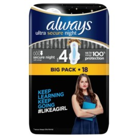 Always Ultra Sec Night Time Size 4 Sanitary Towels With Wings 18 Pack