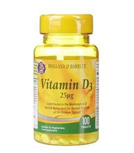 Holland & Barrett Vitamin D3 100 Tablets 25ug