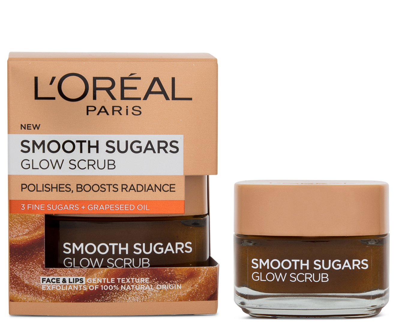 L Oreal Smooth Sugar Glow Grapeseed Face And Lip Scrub 50ml Uk Direct Bd
