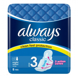 Always Classic Night 3 Sanitary 8 Pads